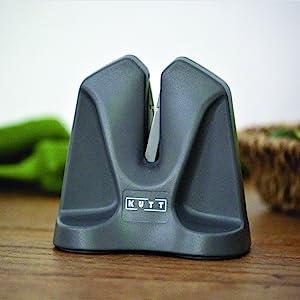 Kutt Knife Sharpener Edge Professional Chef Kitchen V Auto Adjust Technology Compact For Easy Storage Sharpens Hones Polishes Dull Knives Ergonomic Design Cut Resistant Glov