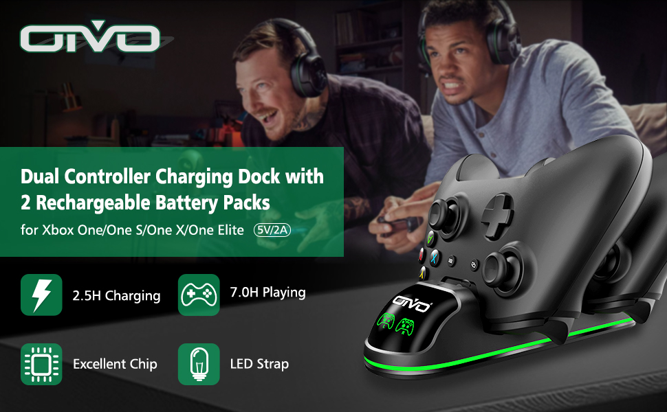 xbox one controller charging stand with rechargeable battery packs
