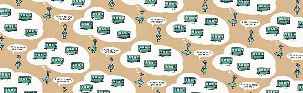 organic cotton fabric printed with buses and wistful pigeons from children's book by Mo Willems