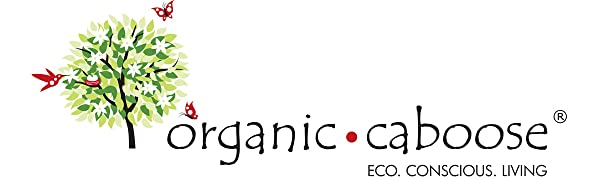 Organic Caboose Eco Conscious Living logo with green white red black. Tree, flowers, bird, butterfly