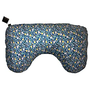 Ergonomically shaped organic cotton nursing pillow cover in blue floral print