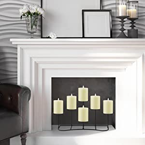 smtyle flameless candles * 6 + smtyle 6 candelabra for fireplace
