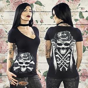 womens skull t shirt black roses