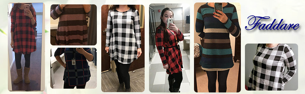 Long sleeve plaid T shirt for women