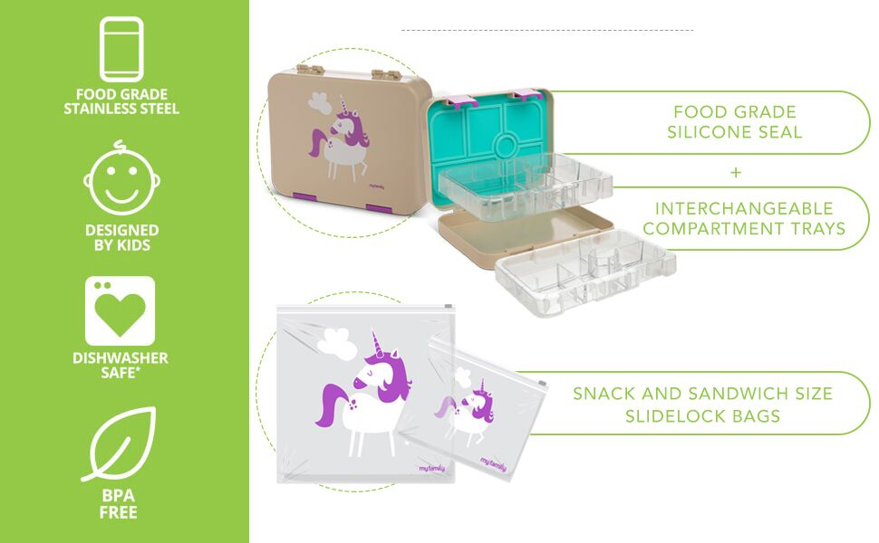 Included in our food-grade school lunch boxes are 2 inter-changeable trays and 2 reusable snack bags