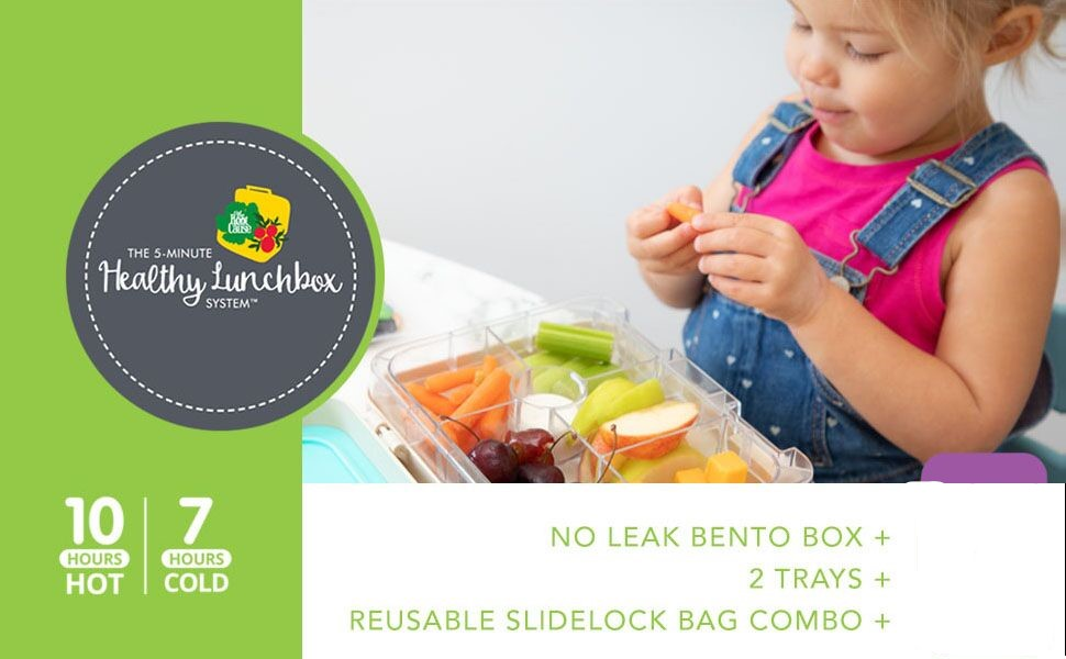 Little kid enjoying her lunch of fruit and vegetables in her bento box with compartments and baggies