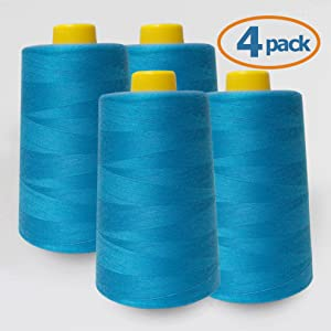 turquoise sewing thread serger cone 4 pack 6000 yards machine hand machine wholesale pack quality