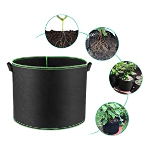 5-Pack 1-400 Gallons Black Thick Nonwoven Plant Fabric Pots with Handles