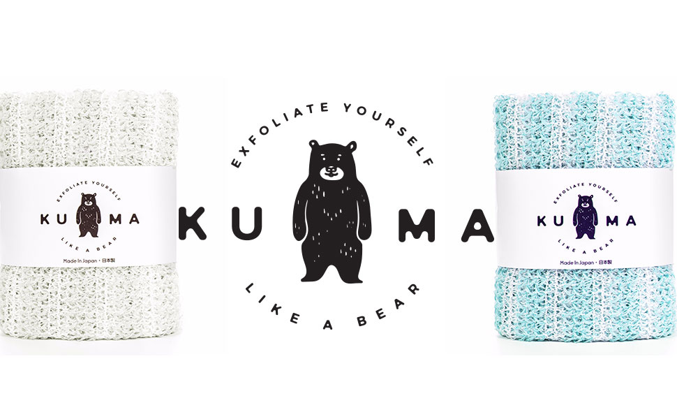 Kuma log and white towel packaging and sky blue towel packaging
