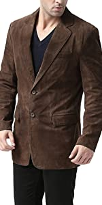 BGSD Men's Cliff Classic 2-Button Suede Leather Blazer