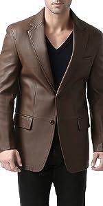 BGSD Men's Grant 2-Button Lambskin Leather Blazer
