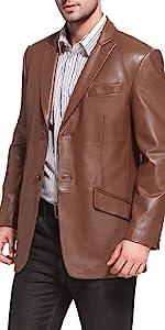 BGSD Men's Noah 2-Button Lambskin Leather Blazer