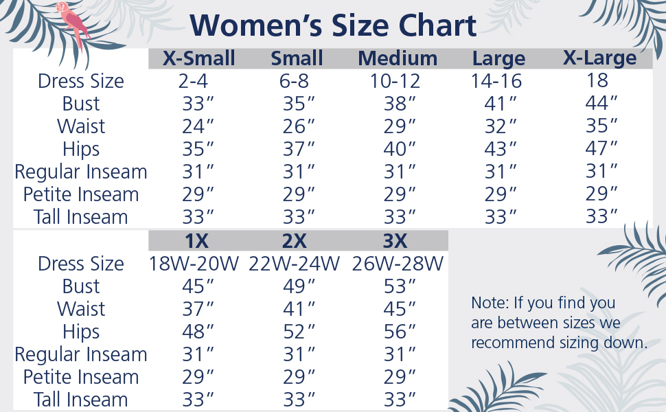 womens size chart with dress size equivalents and measurements