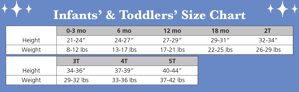 infants and toddlers sizes