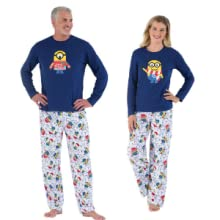 man and woman wearing minion pajamas