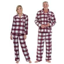 woman and man wearing pajamas