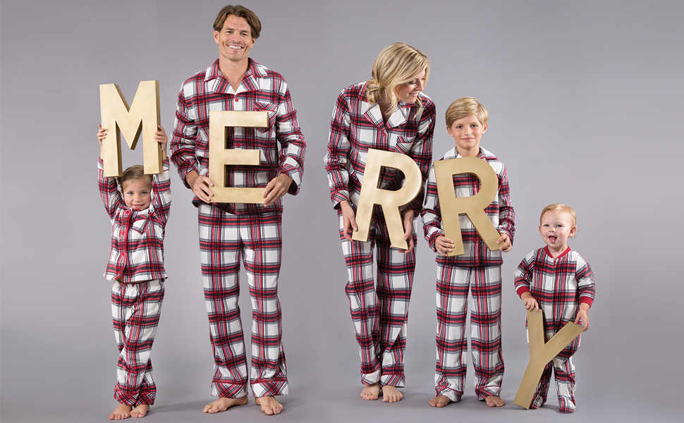 Family wearing matching plaid fleece holiday pajamas