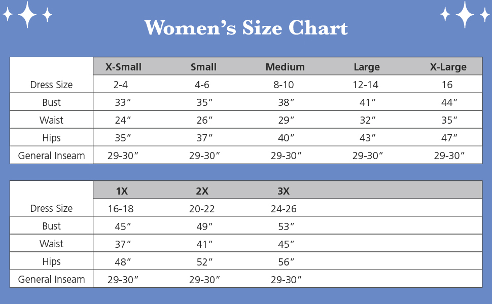 pajamas for women size chart