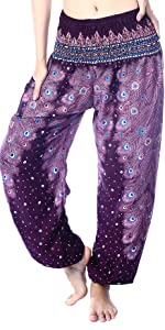 Peacock Feather Harem Pants