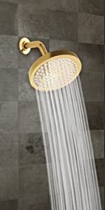 shower head polished brass finish round 6 inch spa gold high pressure rainfall showerhead rainshower