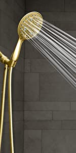 polished brass shower head with hose spray wand gold handheld showerhead hose 5 settings massage