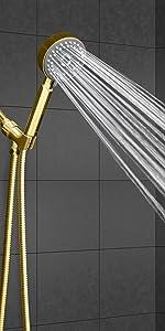 polished brass shower head with hose spray wand gold handheld showerhead hose 6 settings massage