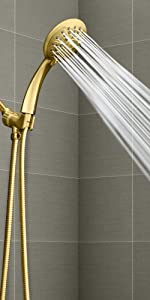 polished brass shower head with hose spray wand gold handheld showerhead hose 3 settings massage