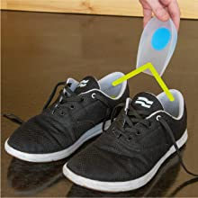 place the heel cups in shoe