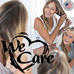 LuxeOrganix cares about you! (Photo of Mom and Daughter doing their hair together)