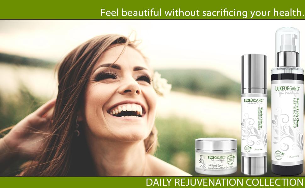 luxeorganix organic skin care daily rejuvenation collection moisturizer eye cream face wash
