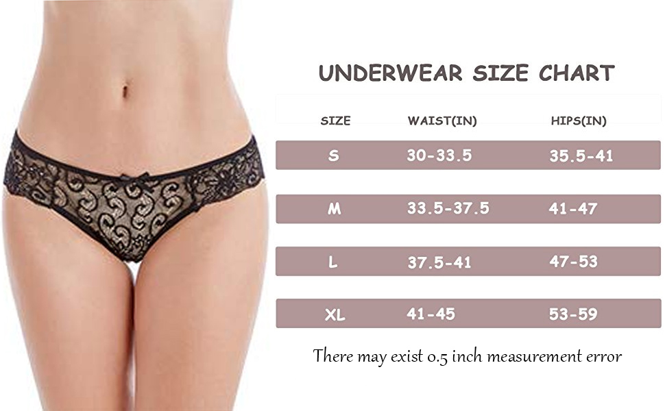 size chart for women lace underwear pack 5