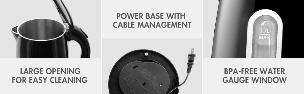 large opening for easy cleaning power base with cable management bpa-free water gauage