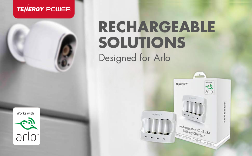 Rechargeable solutions designed for Arlo, Certified Arlo charger for rechargeable batteries