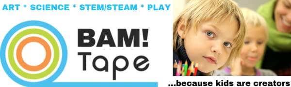 BAM! Tape logo, kids being creators