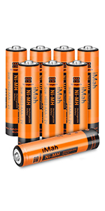 8-Pack iMah HR03 1.2V 750mAh AAA Rechargeable Batteries