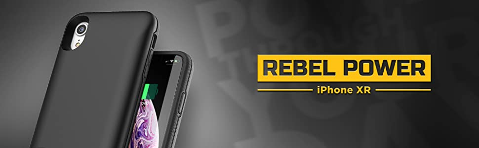 iPhone XR Battery Case (Rebel Power) Slim Protective Charging Case with Extended Portable Juice Bank
