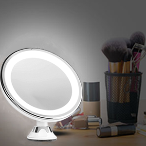 lighted makeup mirror with magnification