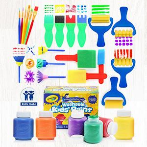 paint brushes and crayola washable paint