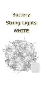 battery white string light transparent white wire