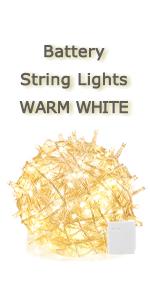 battery warm white string light transparent white