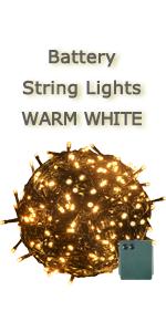 battery warm white string light dark green wire