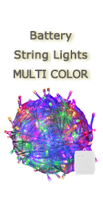 battery multicolor string light transparent white wire