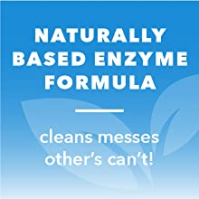 """Light blue leaves icon. Text reads """"Naturally based enzyme formula: cleans messes others can't."""""""