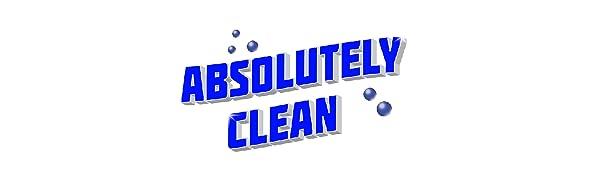 Dark blue Absolutely Clean logo on white background