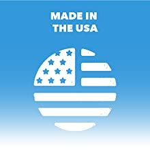 """Circular American flag logo. Text reads """"Made in the USA."""""""