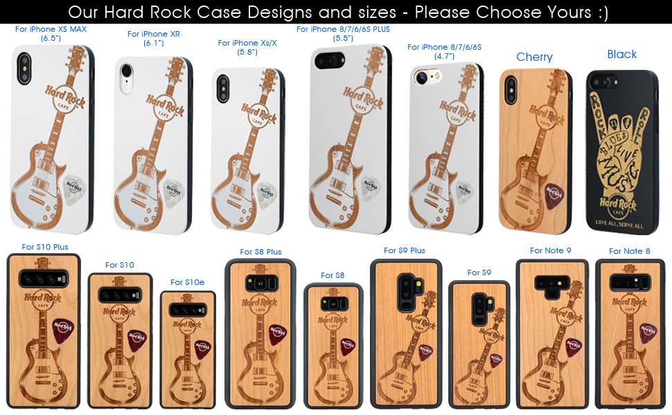 hard rock guitar white wood phone case for iphone and samsung