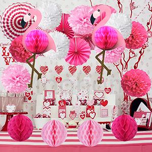 Kalolary Tropical Flamingo Party Honeycomb Decoration