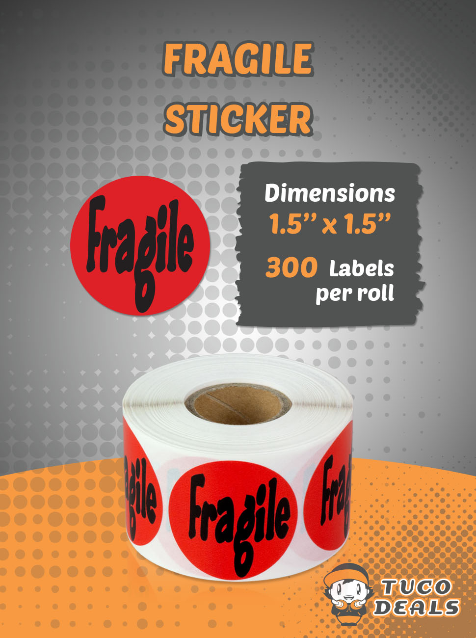 """1.5"""" Round Fragile Self Adhesive Warning Shipping Labels / Stickers"""
