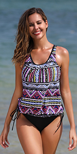 blouson tankini swimsuit for women with triangle brief bathing suit set for women