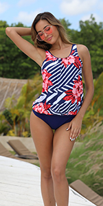 tankini tank top swimsuit bathing suit 2 two pieces for women with triangle brief swimwear loose